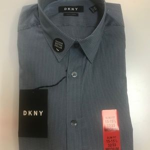 DKNY Shirt Men's  Slim Fit Button Front grey blue